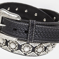 Western Black Leather Belt with Silver Conchos and Triangle Studs