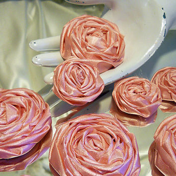 Set of 12 Dusty Pink Rolled / Wrapped Silk Roses for weddings, bouquet making, wedding decor, cake toppers,