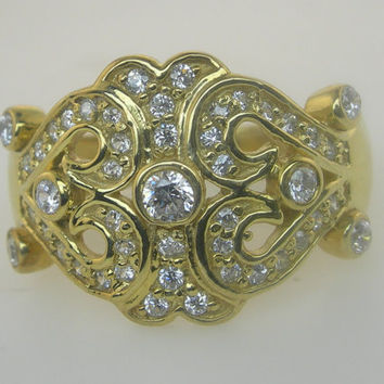 New 1/2ct Genuine Diamond Antique Style Cluster Ring Right Hand Ring 10kt White or Yellow Gold Sizes 3-10