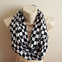 Checkers Infinity Scarf, Unisex Loop  Scarf with Checkers, Fashion Scarf