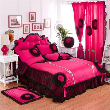 2017 100%Cotton luxury Lace Dandelion Bedding Set Twin Queen King size 3/4/6/8Pcs Duvet cover set Bedskirt Pillowcases Curtain