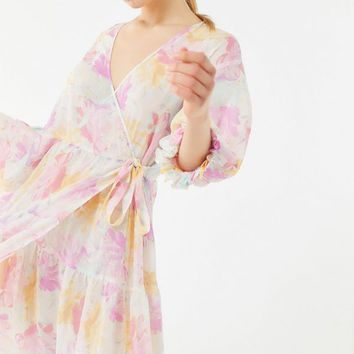 UO Donatella Crinkle Tiered Ruffle Wrap Dress | Urban Outfitters
