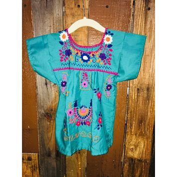 Mexican Dress for Girls Teal