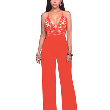 High Waist Lace Crochet Strappy Loose Jumpsuit 25512-3