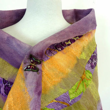 Pure Wool Wrap or Large Fashion Scarf Felted Merino Wool Scarves Lavender Purple and Gold Autumn Harvest