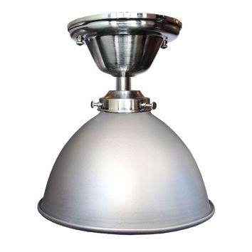 "Factory 7 1/16"" Metal Shade Nickel Flush Mount Light"
