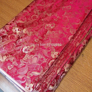 chinese silk brocade  fabric cheongsam cushion red silver butterfly Tapestry satin two color match