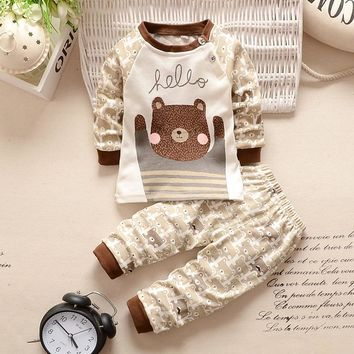New Baby Clothing set Baby Girls Boys Clothes Long Sleeve Shirt+Pants 2pcs suit Cotton Baby Cartoon Clothing set CX985016