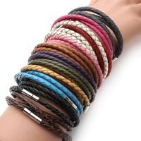 100% Genuine Braided Leather Bracelet