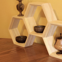 Honeycomb Shelving - Set of three Hexagon Shelves