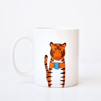 Tiger mug - orange cute simple mug tiger drinking coffee cup blue vday gift Valentines Day