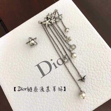 CREY3DS Dior asymmetric Earring 2018 Trending S925 Sterling Silver Double C full drill Rhinestone gold hoop stud drop Jewelry