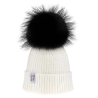Lux White Beanie Black Fur Pom