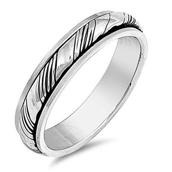 Oxidized Spinner Grooved Wedding Ring New 925 Sterling Silver Band Sizes 713