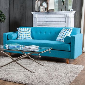 Furniture of america SM8819-SF Madelyn blue fabric sofa with button tufted backs