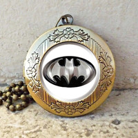 batman superhero Locket necklace, superhero locket necklace - ready for gifting - buy 3 get 4th one free