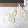 VICTORIA vintage repurposed lace chandelier dangle earrings candlelight ivory (gold)