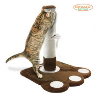 PET PALACE Cat Claw Scratching Sisal Post for Kittens and Cats with Toy Mouse APL1345 Brown '