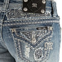 Miss Me Rhinestone Bermuda Stretch Short