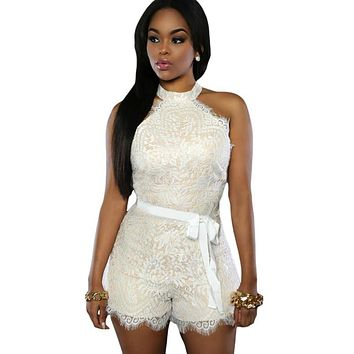 2016 Summer Style Lace Jumpsuits Shorts Women Sleeveless Casual Jumpsuits Party Rompers Womens Jumpsuit
