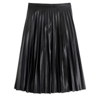 J.Crew Womens Faux-Leather Pleated Midi Skirt