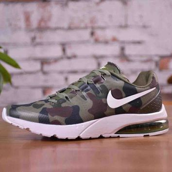 Nike Air Max Tavas Popular Men Personality Army Green Camouflage Air Cushion Breathable Shock Absorption Sport Running Shoe Sneakers I-CSXY