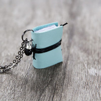 Leather miniature book necklace, mini book jewelry, book lover literature eco friendly necklace pendant, journal necklace - pastel mint