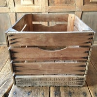 Vintage Wood Crate, Wood Basket, Berrien Springs Michigan, Wood Vinyl Record Storage Crate