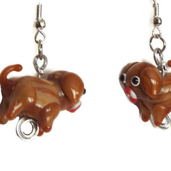 Glasswork Brown Dog Bead Earrings