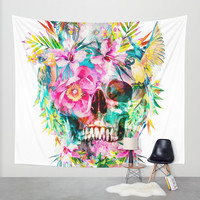 Tropical Skull Wall Tapestry by RIZA PEKER