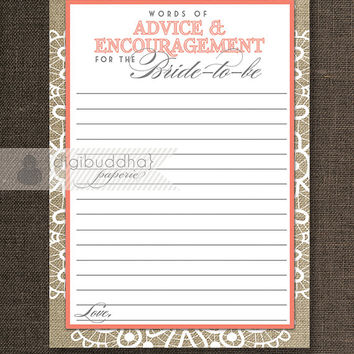 "Advice Card Bride To Be INSTANT DOWNLOAD 5x7"" Coral Bridal Shower Shabby Chic Advice Encouragement Lace Burlap Printable or Printed- Jackie"
