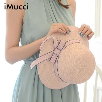 iMucci Women Summer Beach Hats Wave Edge Sunshade Ladies Straw Hat Sombreros Mujer Sunhats With Ribbon Bow