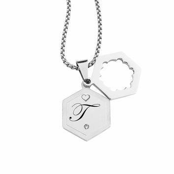 Double Hexagram Initial Necklace With Cubic Zirconia By Pink Box - T