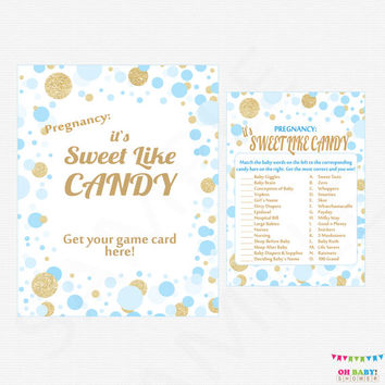 It's Sweet Like Candy Game + Sign - How Sweet It Is - Printable Baby Shower Game - Baby Shower Guessing Game - Boy Baby Shower CB0003-bg