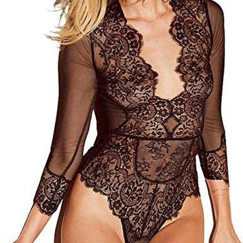 Oliveya Womens Plus Size Black Semi-Sheer Mesh Long Sleeve Jumpsuit Bodysuit 5XL