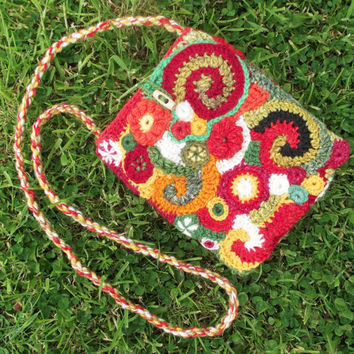 Crochet Freeform Bag, Lined Handspun Crochet Purse, Green Red Cream Orange Tote, Unique Freeform Crossbody Bag, OOAK Crochet Shoulder Bag,