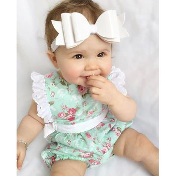 2018 Newborn Kids Baby Boys Girls Clothes Floral Sleeveless Lace Patchwork Bodysuit Jumpsuit Playsuit Summer Bowknot Outfits