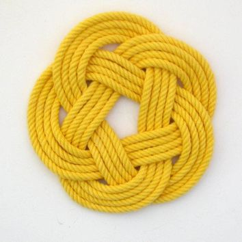 Sailor Knot Coasters, woven in Yellow Cotton , Set of 4