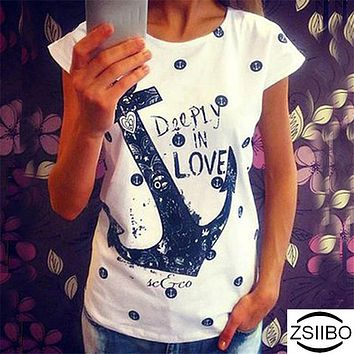 Woman Summer tshirts 2018 Bat sleevesTops Boat Anchor Printing T-shirt Female Top Tee plus size 10 Colors Women Clothing ZSIIBO