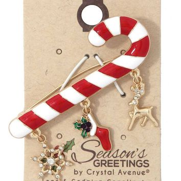 Candy cane snowflake stocking dangle brooch