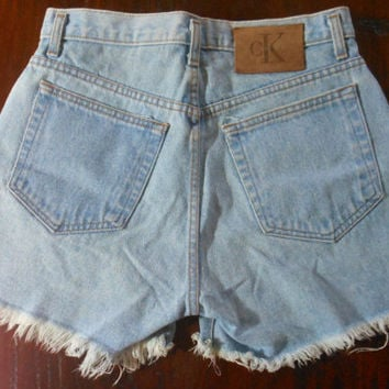 Vintage 90s Calvin Klein High Waisted Light Wash Denim Shorts (Size 8)