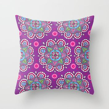 Star Flowers Throw Pillow by Sarah Oelerich