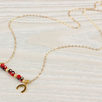 "Good luck necklace, horseshoe necklace, 14k gold filled, swarovski necklace, bridesmaid necklace, ""Ismene"" Necklace"