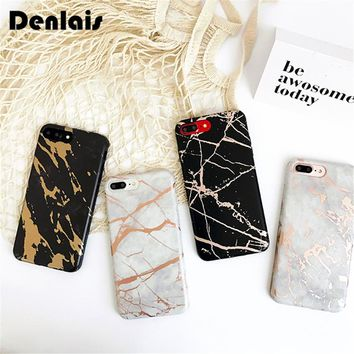 Luxury Gold Plating Classic Marble Granite Effect Rubber Soft Gel Cover Phone Case For iPhone 7 7 Plus 6 6s 6Plus Back Cover