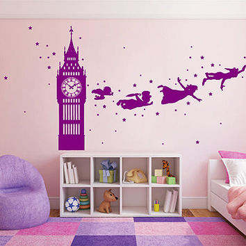 kik2802 Wall Decal Sticker Peter Pan fairy tale of Big Ben room children's bedroom