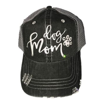 "White Glitter Font ""Dog Mom"" Distressed Hat"