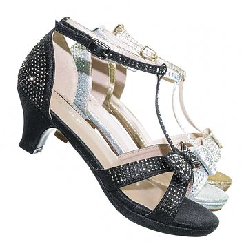 Fantastic55K Children Rhinestone Crystal Sandal - Girl Kid Shiny High Heel