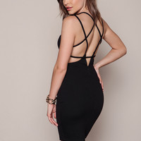 BLACK STRAPPY BACK PLUNGE BODYCON DRESS