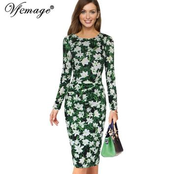 Vfemage Womens Elegant Ruffles Ruched Draped Vintage Floral Flower Print Casual Party Cocktail Bodycon Pencil Sheath Dress 6337