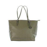 La Diva Womens Textured Buckle Trim Tote Handbag